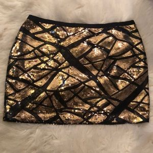EUC Moda International gold black sequin skirt 6
